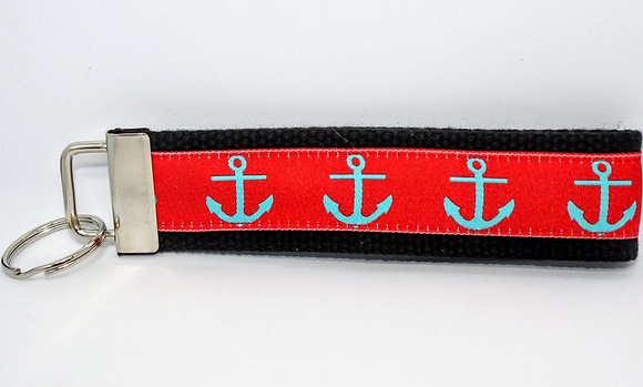 Turquoise Anchor with Red on Black