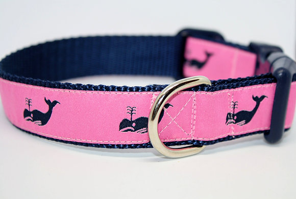 Navy Whales with Pink on Navy
