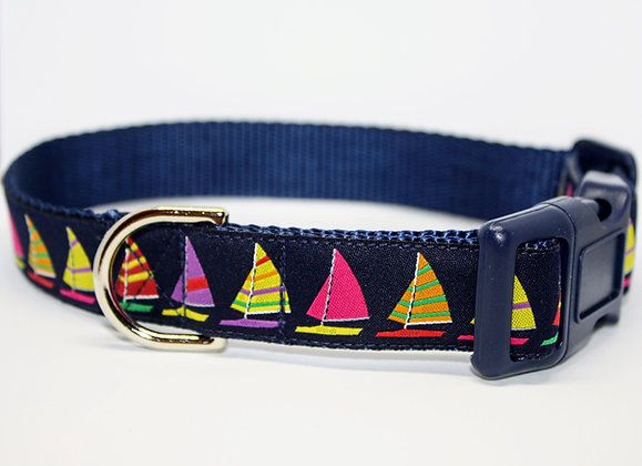 Colorful Sailboats On Navy
