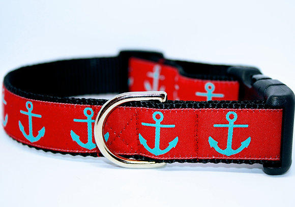Turquoise Anchors with Red on Black