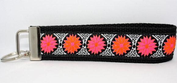 Pink and Orange Flowers On Black