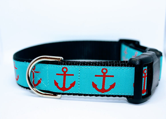 Red Anchors with Turquoise on Black