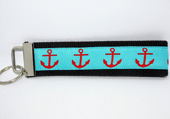 Red Anchor with Aqua on Black