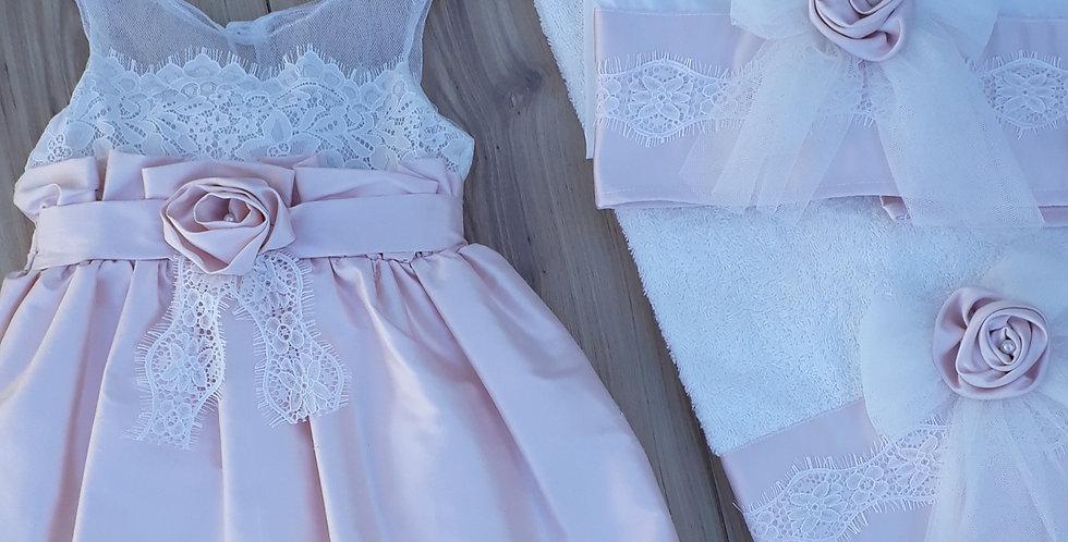 Σετ  φόρεμα + λαδόπανα  σε λευκό με ροζ /24