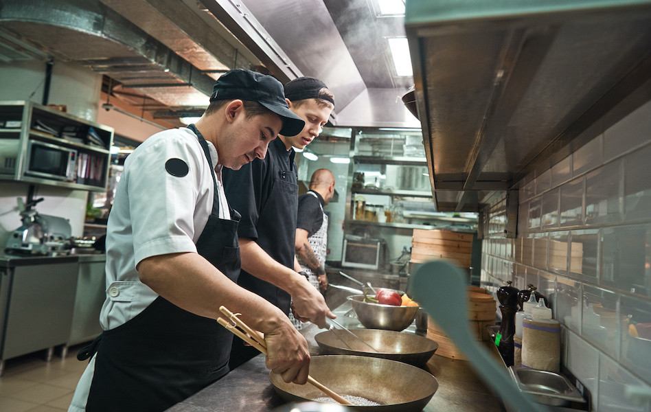 image of college training kitchen and restaurant