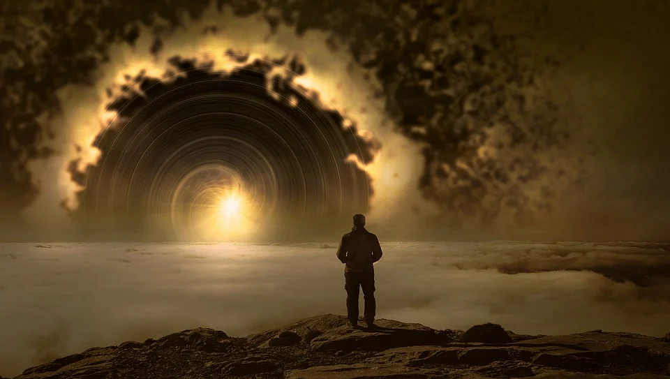 fantasy landscape. man staring out to cloudy field, black hole and light in spiriling in distance