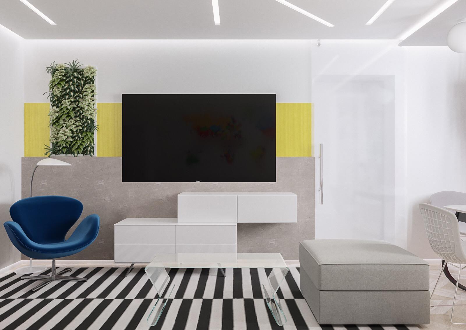 Дизайн-проект гостиной, ТВ зона