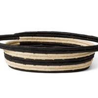 Black + Natural Raffia Oval Basket