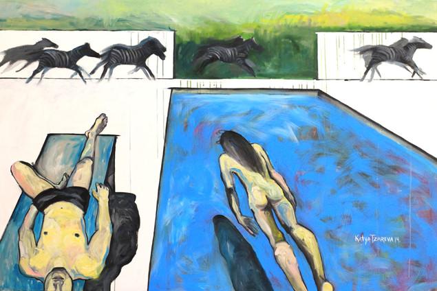Scene №4. At a pool.  2014 Mixed media on canvas, 120x180 cm  /  Сцена #4. У бассейна. 2014  Холст, смеш. т., 120х180 см