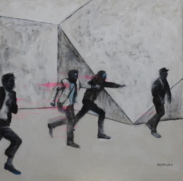 Run to nowhere.  2015 Mixed media on canvas, 120x120 cm /  Бег в никуда.  2015  Холст, смеш. т., 120х120 см