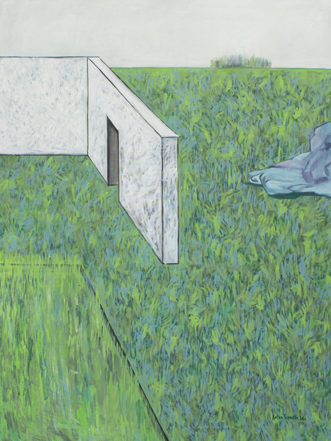 Landscape with nobody with a fragment of a white house #2. 2016 Mixed media on canvas, 160x120 cm  /  Пейзаж в котором нет никого с фрагментами белого дома #2. 2016  Холст, смеш. т., 160х120 см