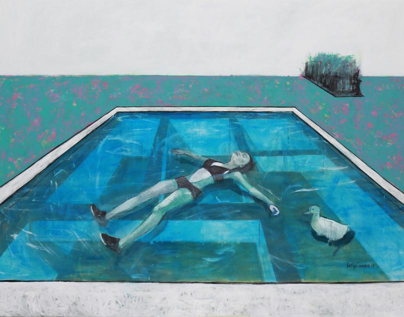 Alyona is swimming in a pool. 2015 Mixed media on canvas, 140x180 cm  /  Алена плавает в бассейне.  2015  Холст, смеш. т., 140х180 см