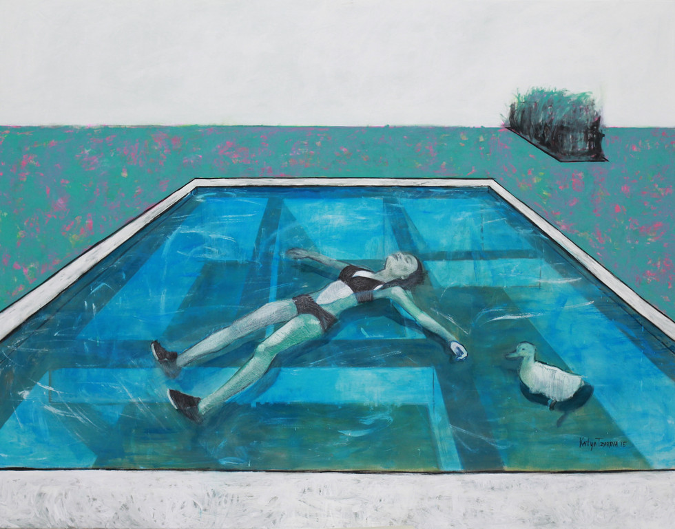 Alyona is swimming in a pool. 2015 Mixed media on canvas, 140x180 cm  /  Алена плавает в бассейне.  2015  Холст, смеш. т., 140х180 см
