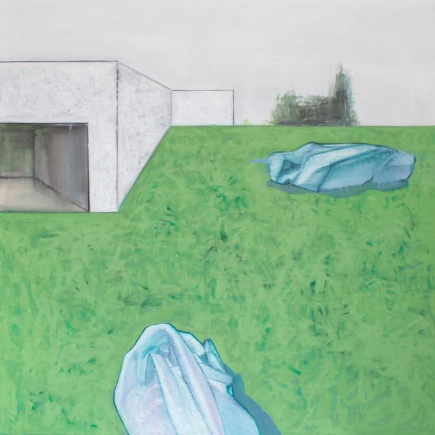 Landscape with nobody #1. 2016 Mixed media on canvas, 120x120 cm  /  Пейзаж в котором нет никого #1.  2016  Холст, смеш. т., 120х120 см