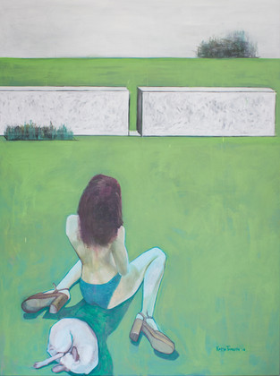 Two figures and  a fragment of a white house. 2016 Mixed media on canvas, 160x120 cm  /  Две фигуры и фрагмент белого дома. 2016  Холст, смеш. т., 160х120 см