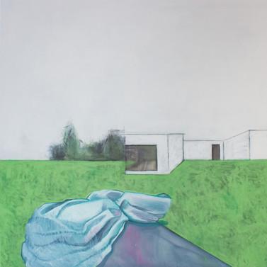 Landscape with nobody #2. 2016 Mixed media on canvas, 120x120 cm  /  Пейзаж в котором нет никого #2.  2016  Холст, смеш. т., 120х120 см