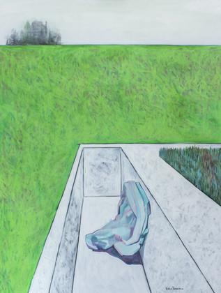 Landscape with nobody with a fragment of a white house. 2016 Mixed media on canvas, 160x120 cm  /  Пейзаж в котором нет никого с фрагментами белого дома.  2016  Холст, смеш. т., 160х120 см