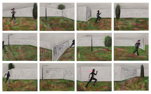 The Man is running.  2015 Mixed media on canvas, 120x200 cm /  Человек бежит.  2015  Холст, смеш. т., 120х200 см