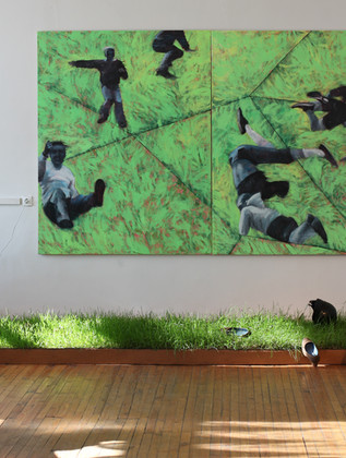 Run from height. Mixed media on canvas, 180x280 cm / 2015 Бег с высоты.   Холст, смеш. т., 180х280 см