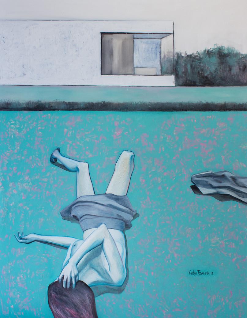 Figure, lawn and a white house. 2015 Mixed media on canvas, 180x140 cm  /  Фигура, газон и белый дом. 2015  Холст, смеш. т., 180х140 см