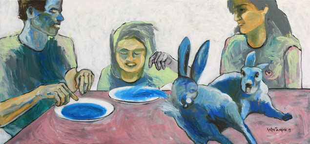 Scene №7. This rabbit soup. 2014. Mixed media on canvas, 70x150 cm  /  Сцена #7. Этот кроличий суп.   2014  Холст, смеш. т., 70х150 см