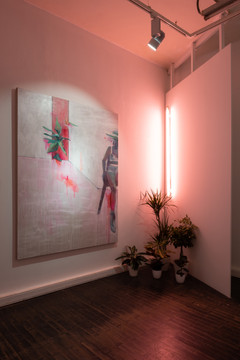 Installation with painting 2020 painting, flowers, lamp, wall
