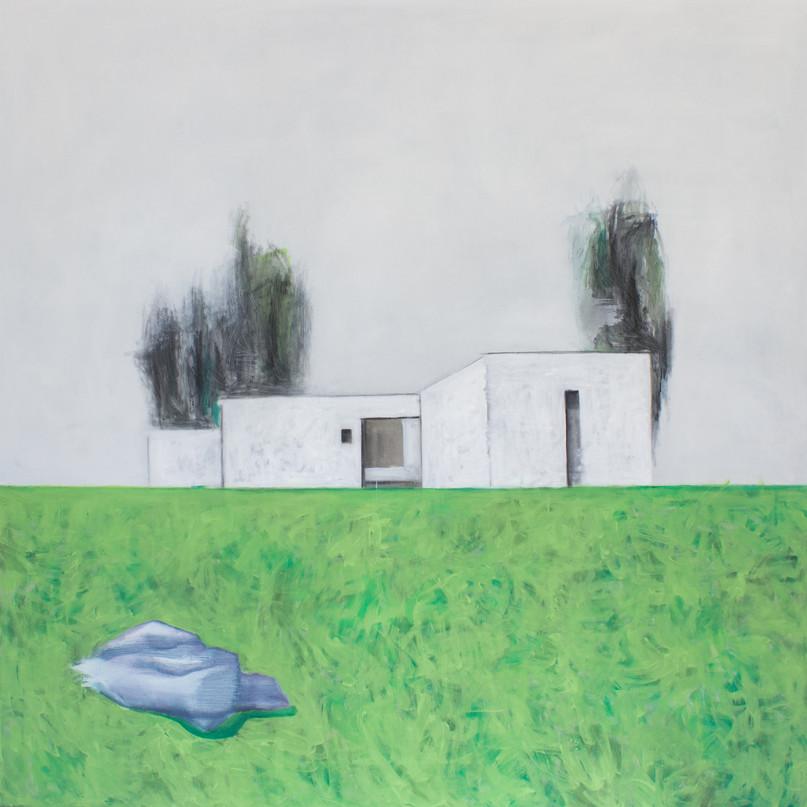 Landscape with nobody #3. 2016 Mixed media on canvas, 120x120 cm  /  Пейзаж в котором нет никого #3.  2016  Холст, смеш. т., 120х120 см