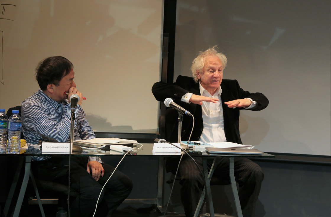 Prof. Masaki Fujihata with Prof. Siegfried Zielinski