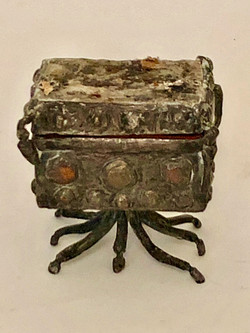 Cast Silver Container with Stone Lid