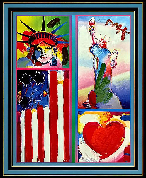 """Two Liberties, Flag and Heart"" by Peter Max"