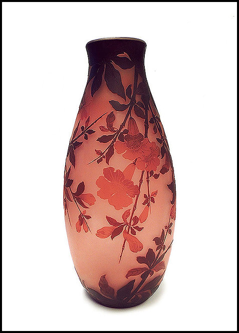 """Tall Acid Etched Cameo Glass Vase"" by Emile Galle"