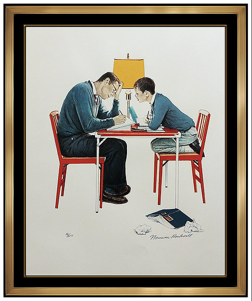 """Studying"" by Norman Rockwell"