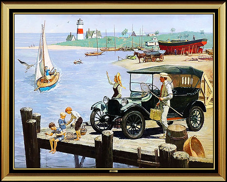 """""""Day at the Beach, 1915 Dodge"""" by Kenneth Riley"""