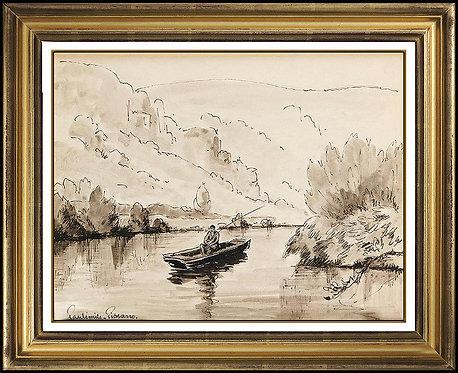 """""""Pecheur Sur L'Orne"""" by Paul Emile Pissarro"""