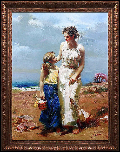 """By The Sea - Hand Embellished"" by Pino Daeni"