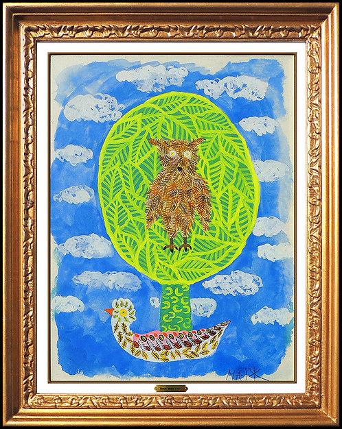 """Original Owl in Tree"" by Henri Maik"