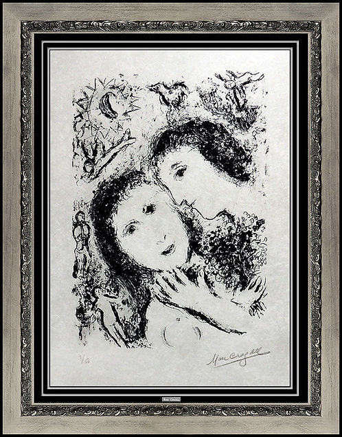 """""""Le Couple Aux Anges (m.940)"""" by Marc Chagall"""