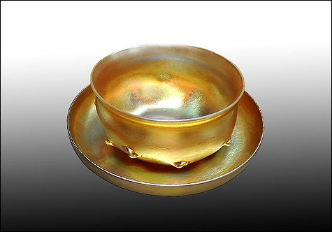 """Favrile Glass Bowl and Underplate Set"" by Louis Comfort Tiffany"