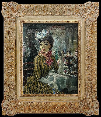 """""""Original Dame dans le Chapeau de Fleur"""" by Francois Gerome"""