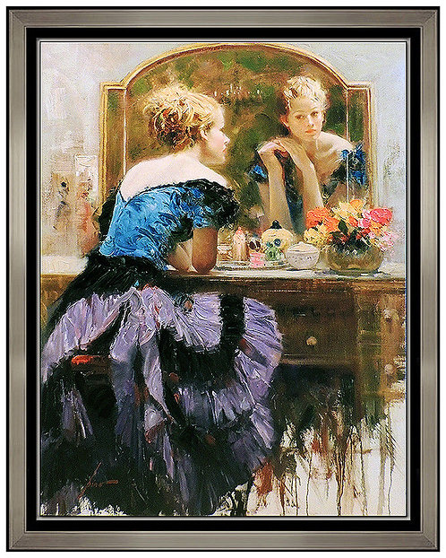 """By The Mirror- Hand Embellished"" by Pino Daeni"