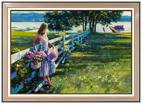 """By the White Fence - Original"" by Howard Behrens"