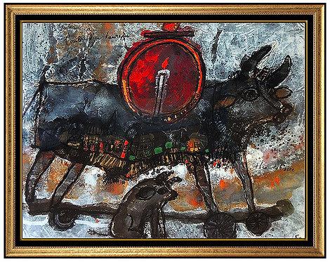 """""""Taureau A L'ombe D'un Taureau"""" by Theo Tobiasse"""