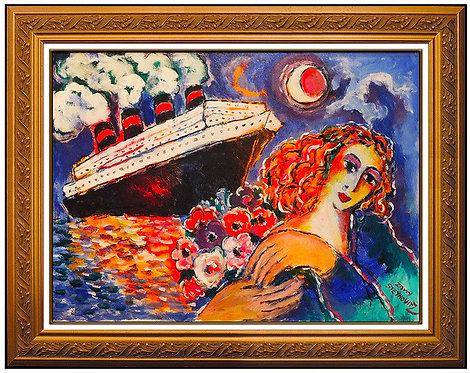 """""""Woman at Waters Edge - Original"""" by Zamy Steynovitz"""