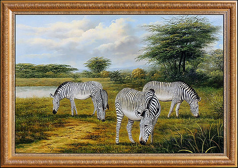 """Original Grazing Zebras"" by Ray Jacob"