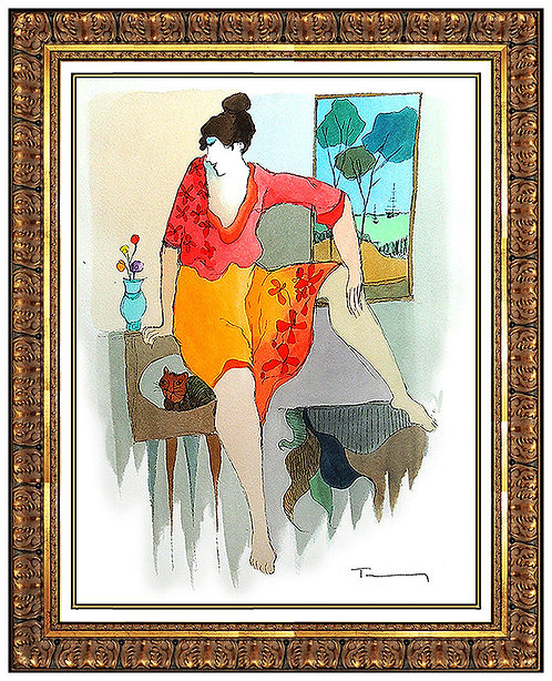"""""""Cat in the Mirror"""" by Itzchak Tarkay"""