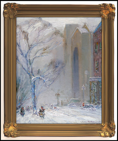 """Original New York Winter Street Scene"" by Johann Berthelsen"