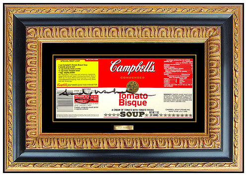 """Original Hand Signed Campbell's Tomato Bisque Soup Label"" by Andy Warhol"