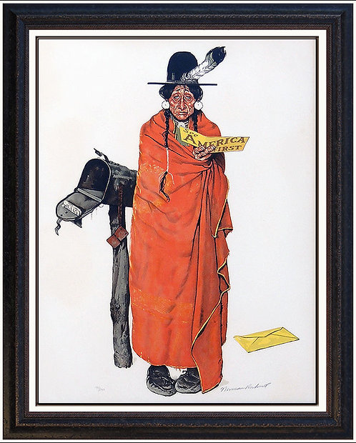 """Indian at the Mailbox (See America First)"" by Norman Rockwell"