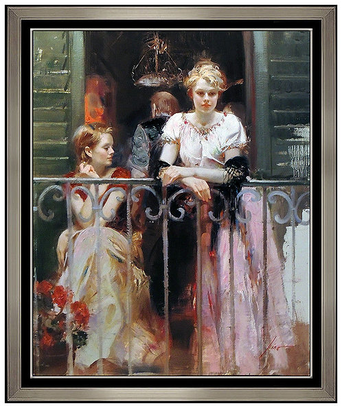 """Sunday at the Balcony - Hand Embellished"" by Pino Daeni"
