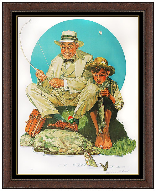 """""""Catching the Big One"""" by Norman Rockwell"""